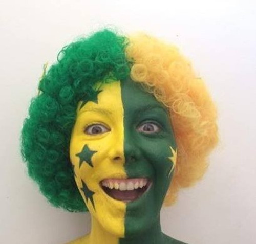 Afro Wig Green and Gold Stars