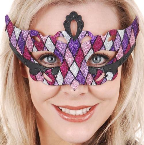 Eyemask Masquerade Giovanna Diamond Pink and Purple Glitter