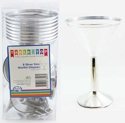 8 Silver Trim Martini Glasses