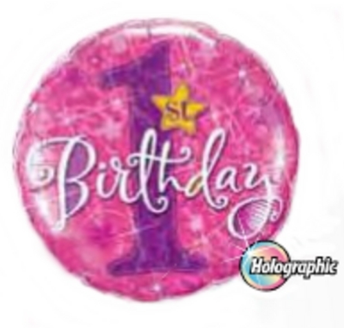 1st Birthday Stars Pink Holographic Foil Balloon