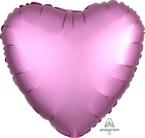 Heart Satin Luxe Flamingo Pink Foil Balloon