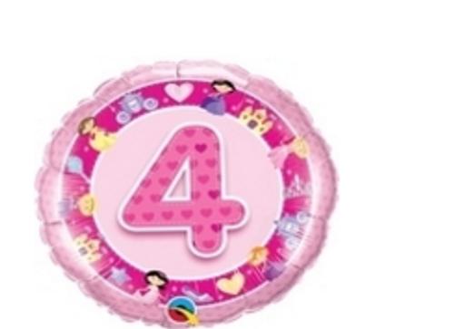 Age 4 Pink Princess Foil Balloon