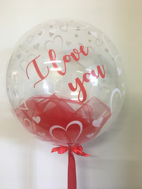 Personalised Red Tulle Bubble Balloon