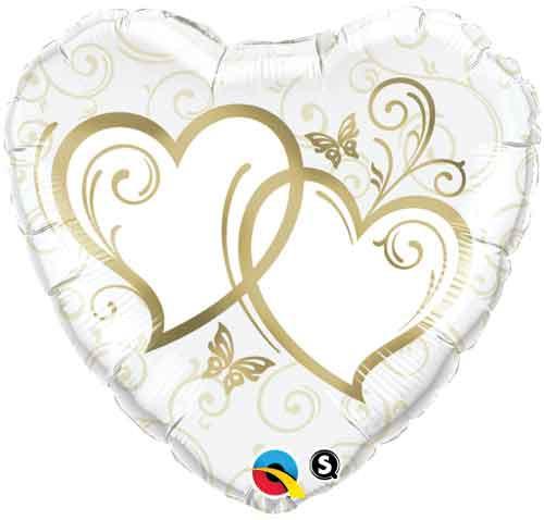 Entwined Hearts Gold Heart Shape Foil Balloon