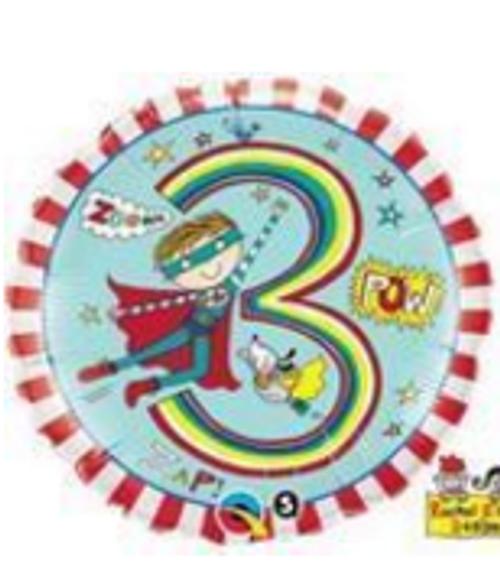 Age 3 Super Hero Stripes Foil Balloon