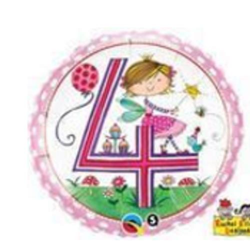 Age 4 Fairy Polka Dots Foil Balloon