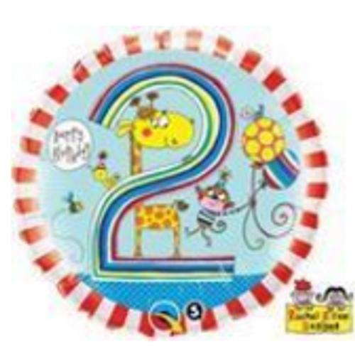 Age 2 Giraffe Stripes Foil Balloon