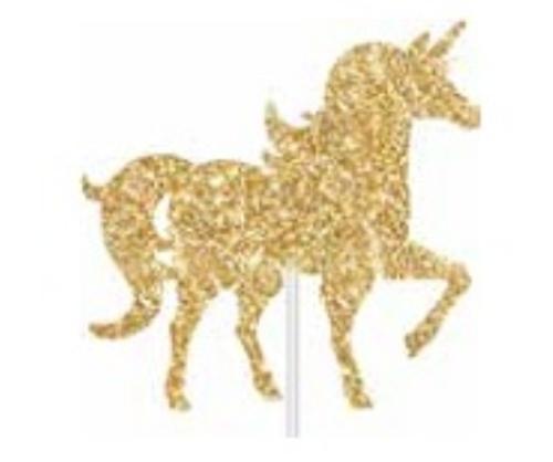 Cake Topper Unicorn Gold Glitter