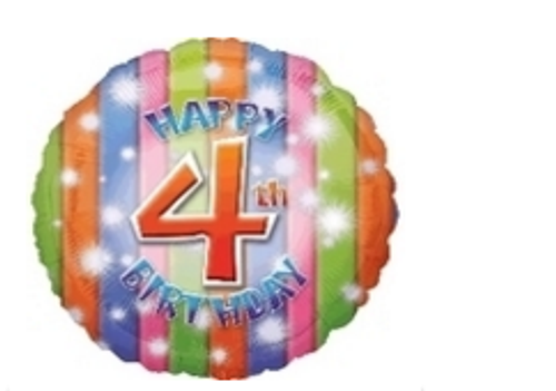 Happy 4th Birthday Foil Balloon