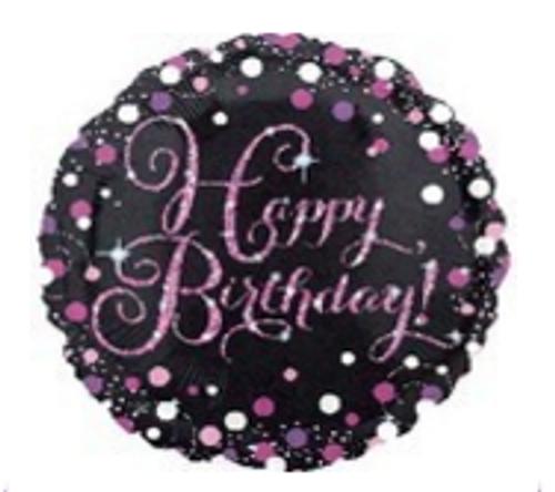 Pink Celebration Happy Birthday Holographic Foil Balloon