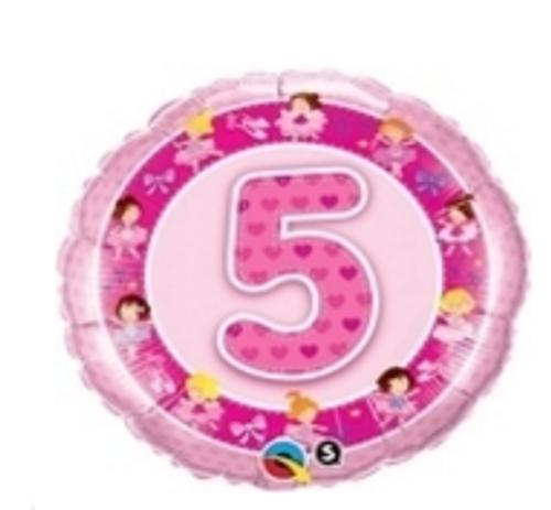 Age 5 Pink Ballerinas Foil Balloon