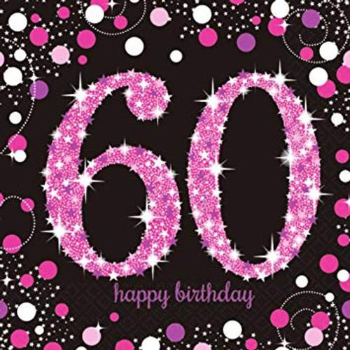 Sparkling Celebration Pink 60 Luncheon Napkins