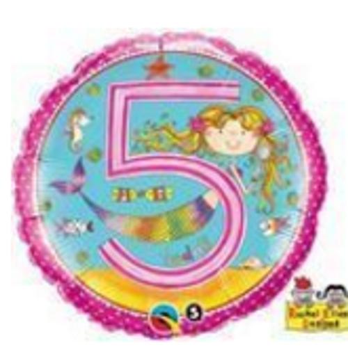 Age 5 Mermaid Polka Dots Foil Balloon
