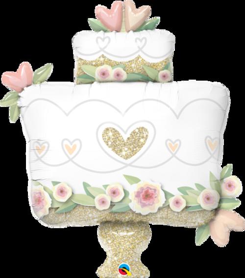 Gold Glitter Wedding Cake Super Shape Foil Balloon