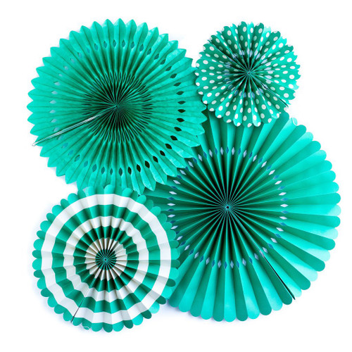 BASICS PARTY FANS - TEAL