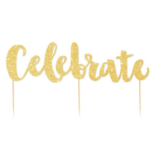 Celebrate Gold Glitter Cake Topper