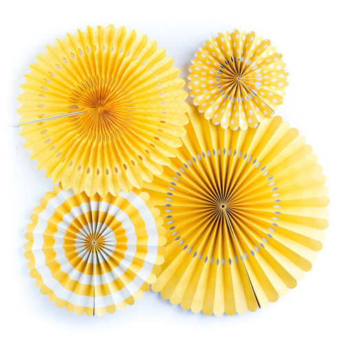 BASICS PARTY FANS - YELLOW