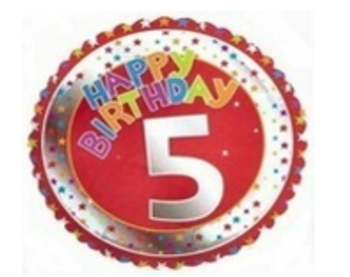 5th Birthday Red Silver Foil Balloon