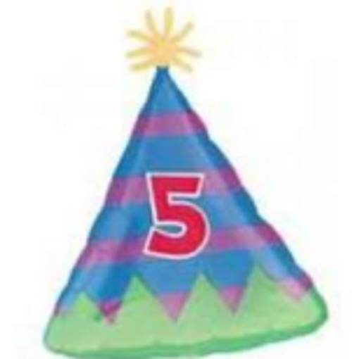 5th Birthday Party Hat Foil Balloon