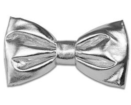 Metallic Silver Bow Tie
