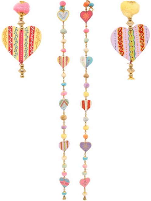 Hanging Hearts with Pompoms