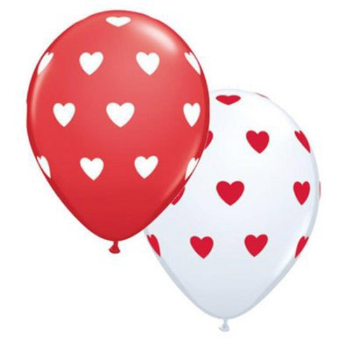 Big Hearts Red and White Latex Balloon