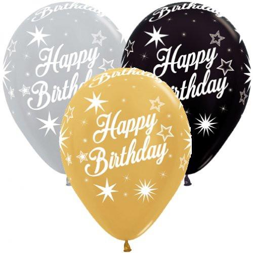 Happy Birthday Sparkles Metallic Latex Balloons