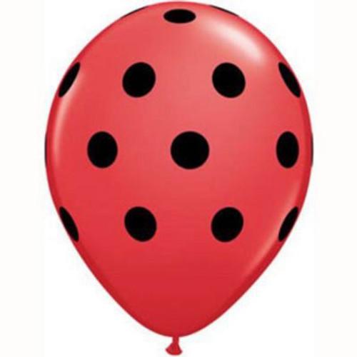 Big Polka Dots Red with Black Dots Latex Balloons
