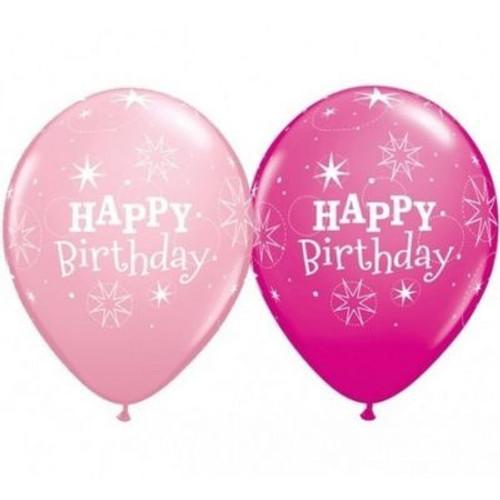 Birthday Sparkle Pink & Berry Latex Balloons