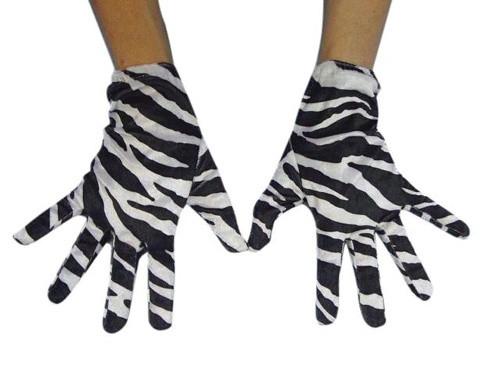 Zebra Print Short Gloves