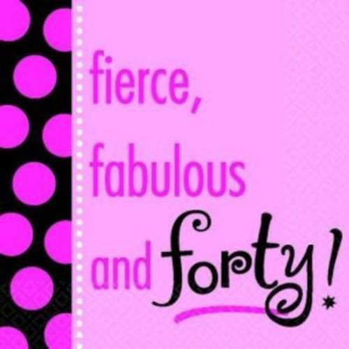 Fierce, Fabulous and Forty! Beverage Napkins