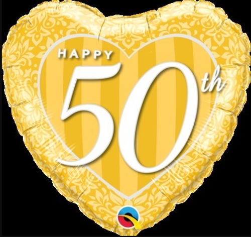 Happy 50th Anniversary Gold Heart Foil