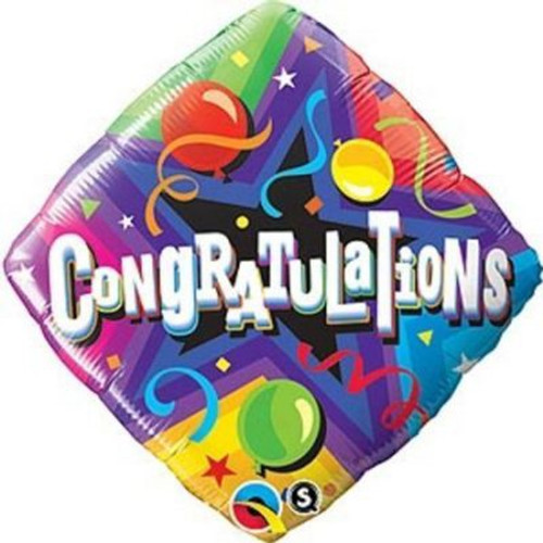 Congratulations Party Time Diamond Foil Balloon