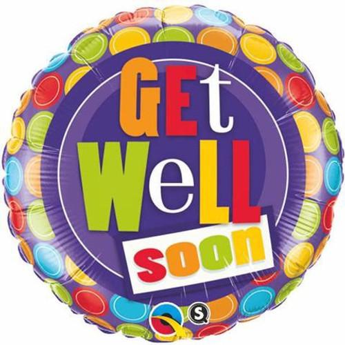 Get Well Dot Patterns Foil Balloon