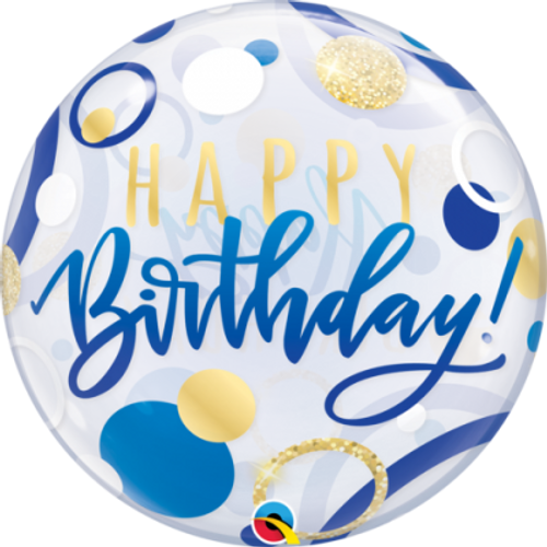 Happy Birthday Blue & Gold Dots Bubble Balloon