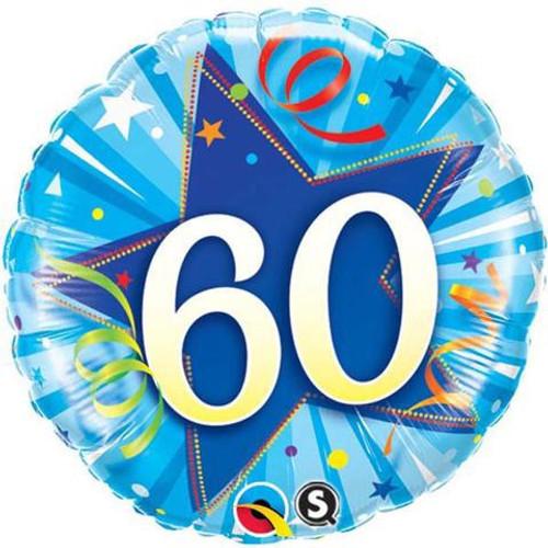 60th Shining Star Blue Foil Balloon