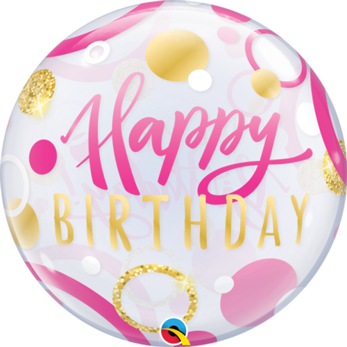 Happy Birthday Pink & Gold Dots Bubble Balloon