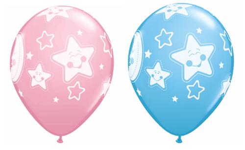 Baby Moon & Stars Latex Balloons