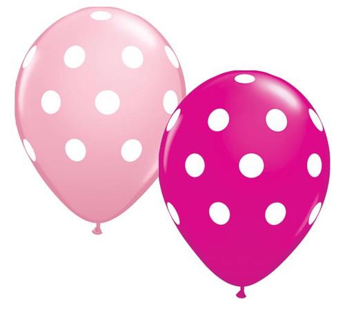 Big Polka Dots Pink & Berry Latex Balloons