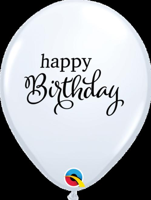 Simply Happy Birthday White Latex Balloons