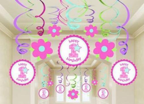 1st Birthday Girl Swirls