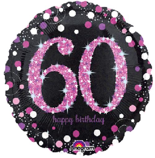 Pink Celebration 60 Holographic Foil Balloon