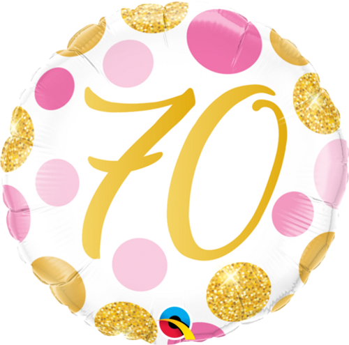 70 Pink and Gold Dots Foil Balloon
