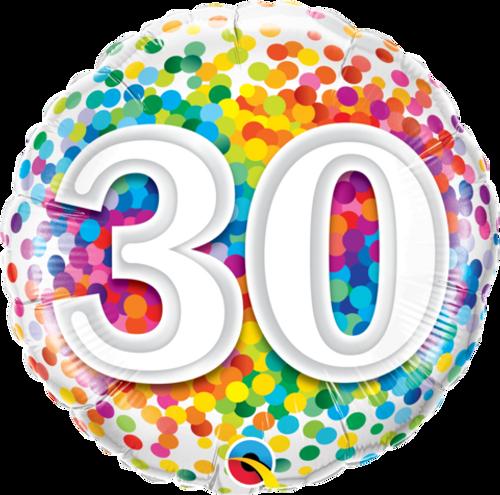30 Rainbow Confetti Foil Balloon