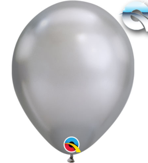 Chrome Silver 18cm Balloons - Pack of 100