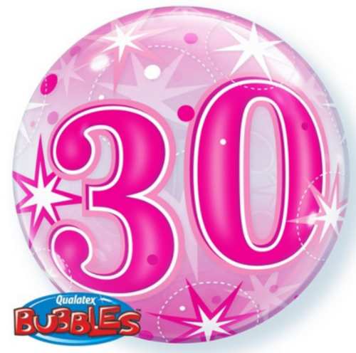 30 Pink Starburst Bubble Balloon