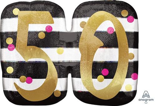 Pink & Gold Milestone 50 Supershape Foil Balloon
