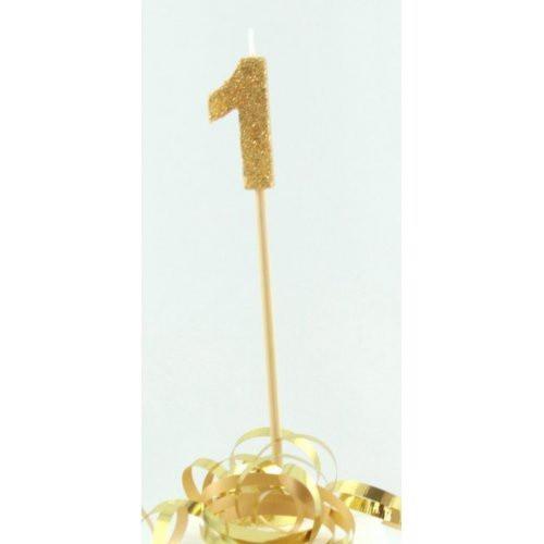 Gold Glitter Long Stick Candle #1