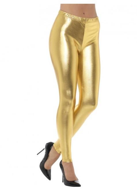 80's Metallic Disco Leggings Gold - L