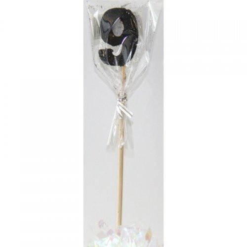 Black Glitter Long Stick Candle #9